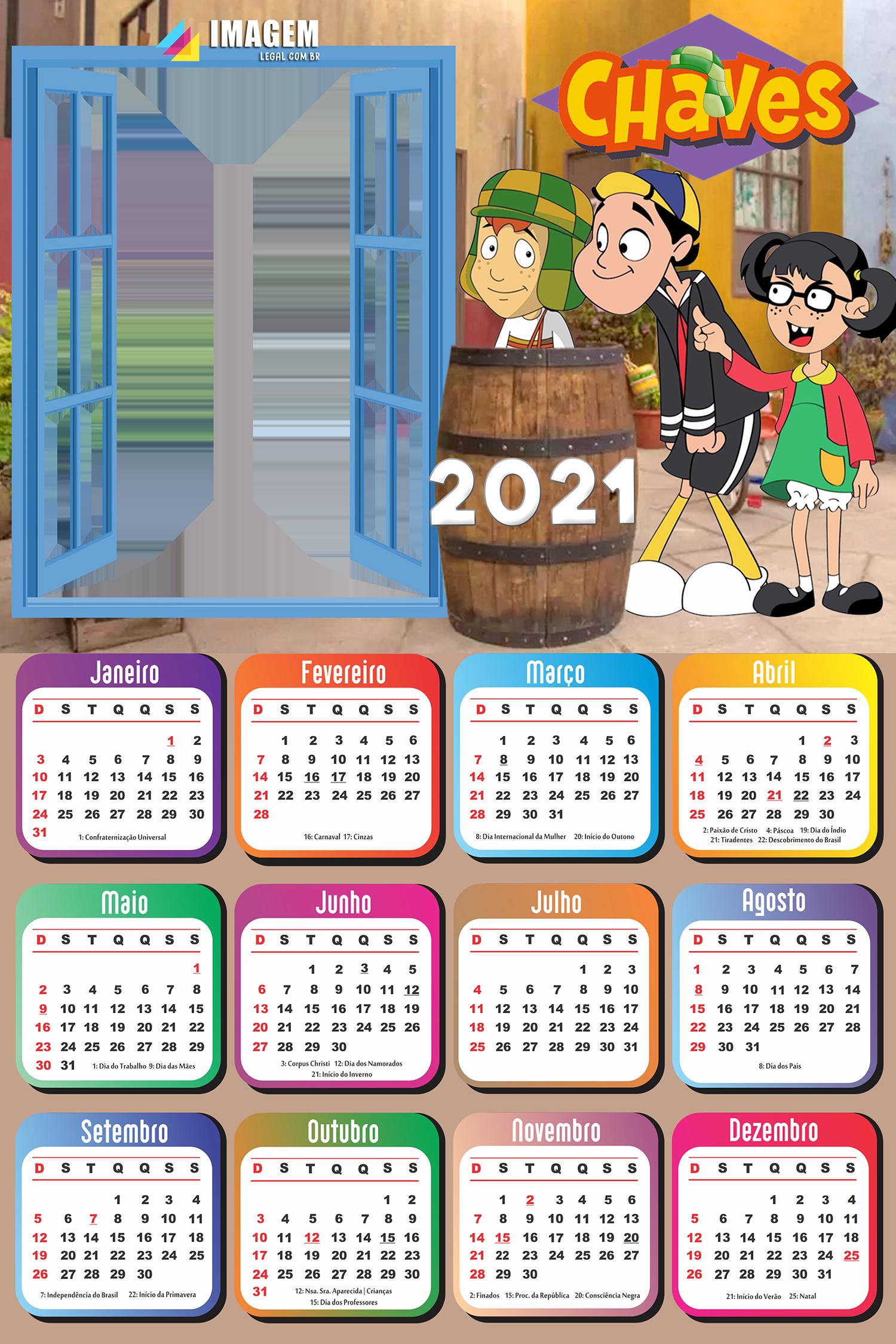 Calendário 2021 Chaves Foto Moldura