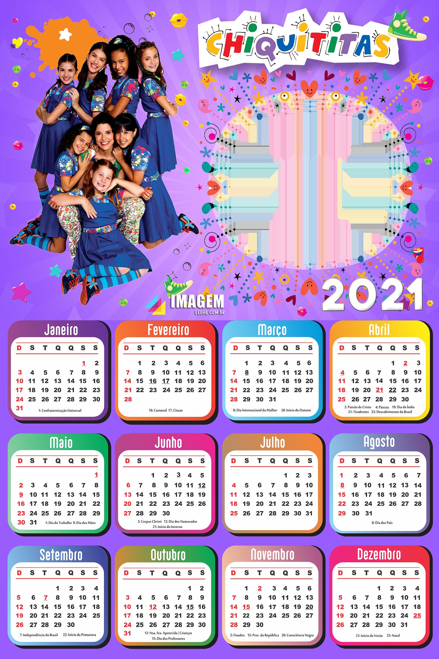 Calendário 2021 Chiquititas PNG