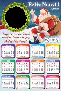 Calendário 2021 Desejo um Mundo cheio de corações PNG