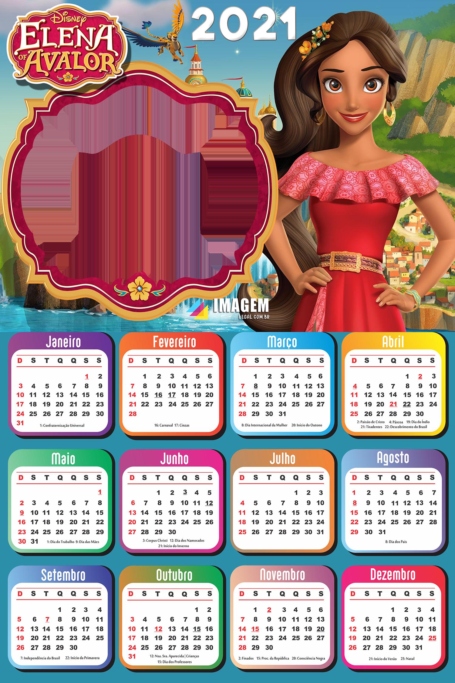 Calendário 2021 Elena de Avalor para Imprimir