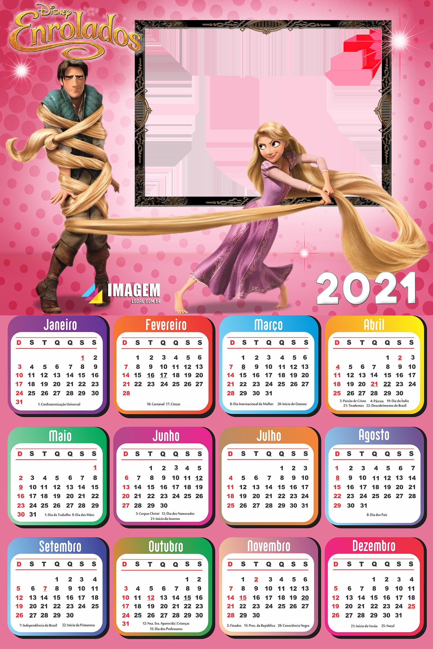 Calendário 2021 Enrolados Personalizado