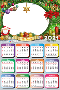 Calendário 2021 Feliz Natal Papai Noel Moldura