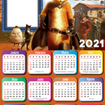 Calendário 2021 Gato de Botas Moldura