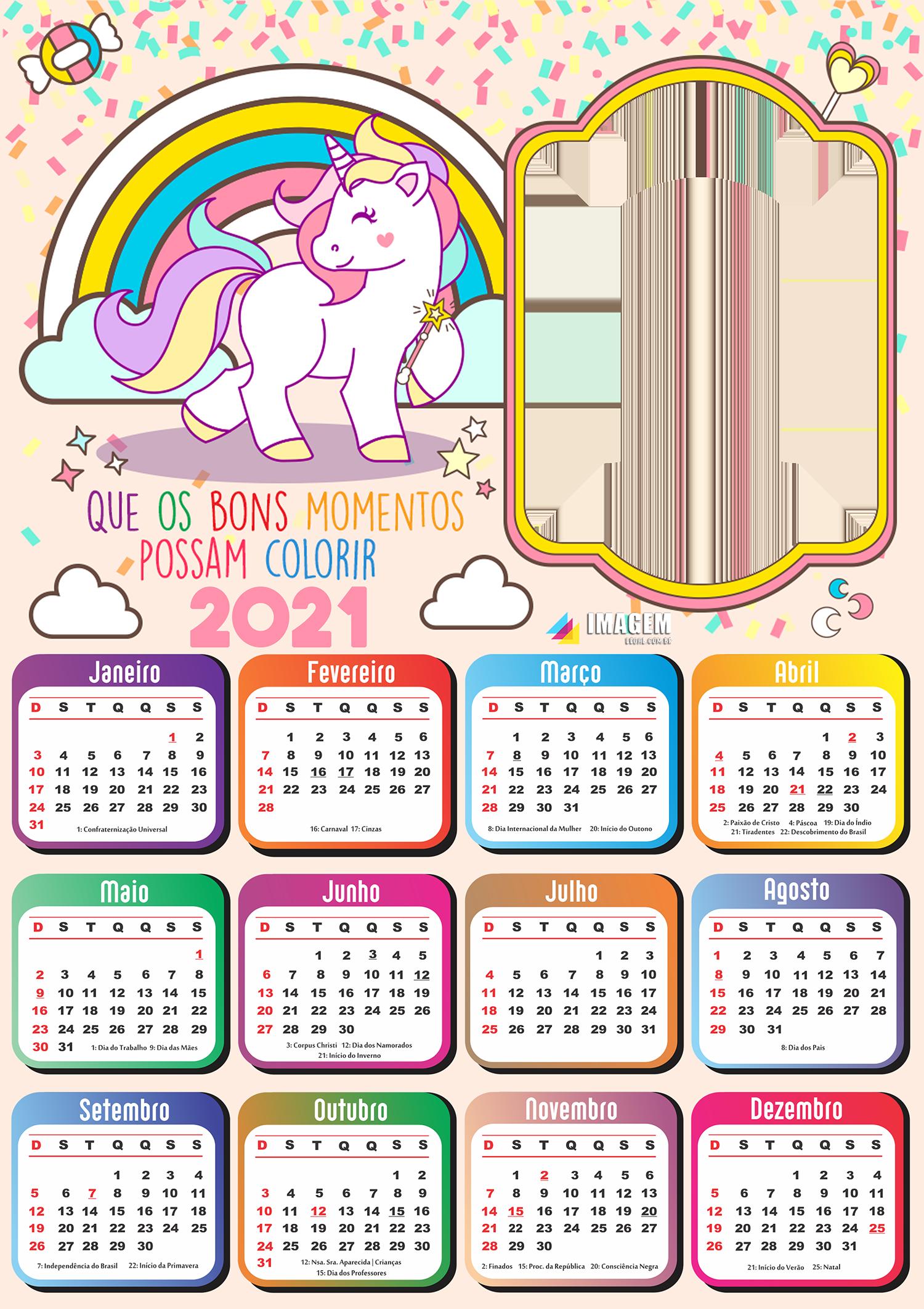 Calendário 2021 PNG Unicórnio