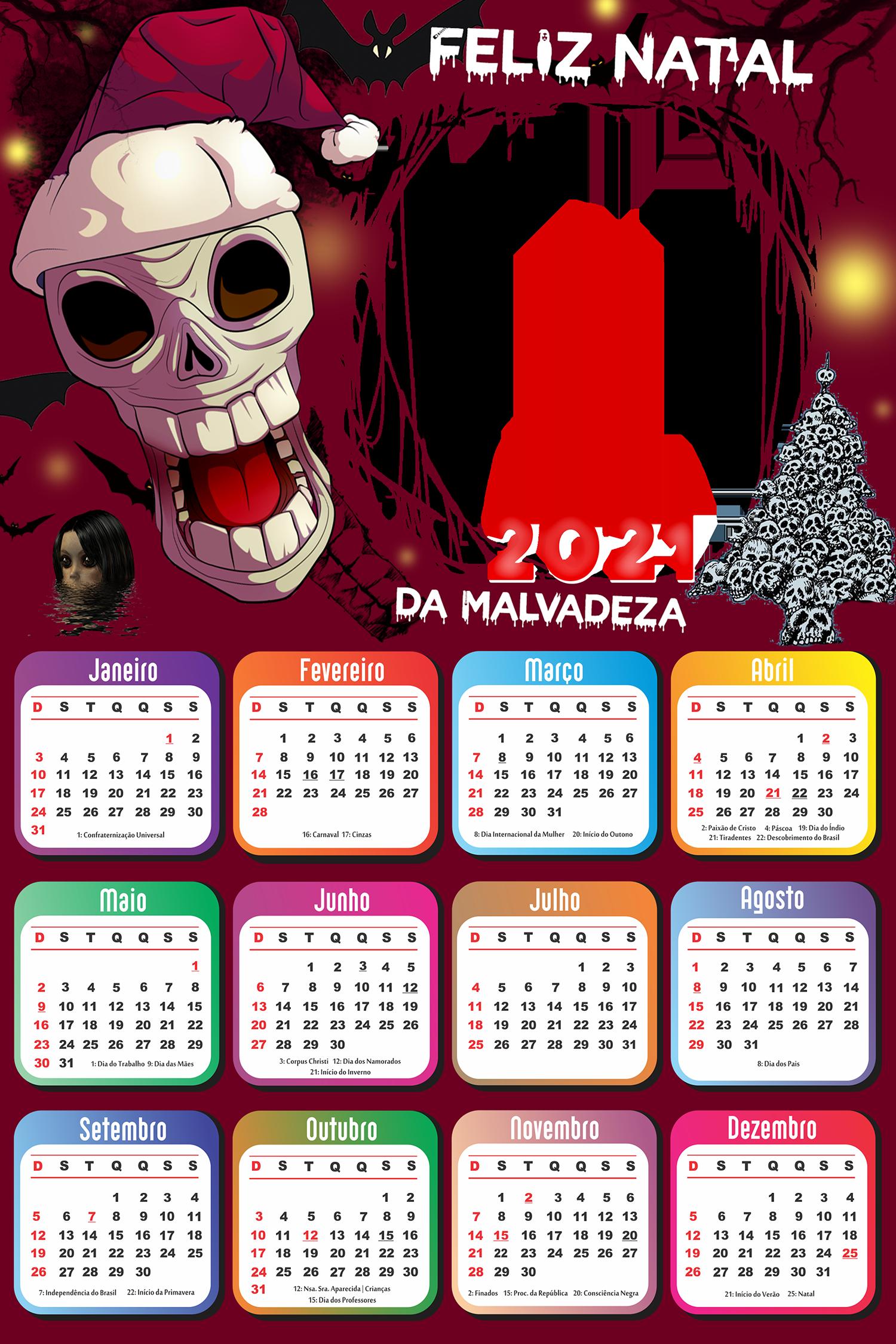 Calendário 2021 Papai Noel Assustador PNG
