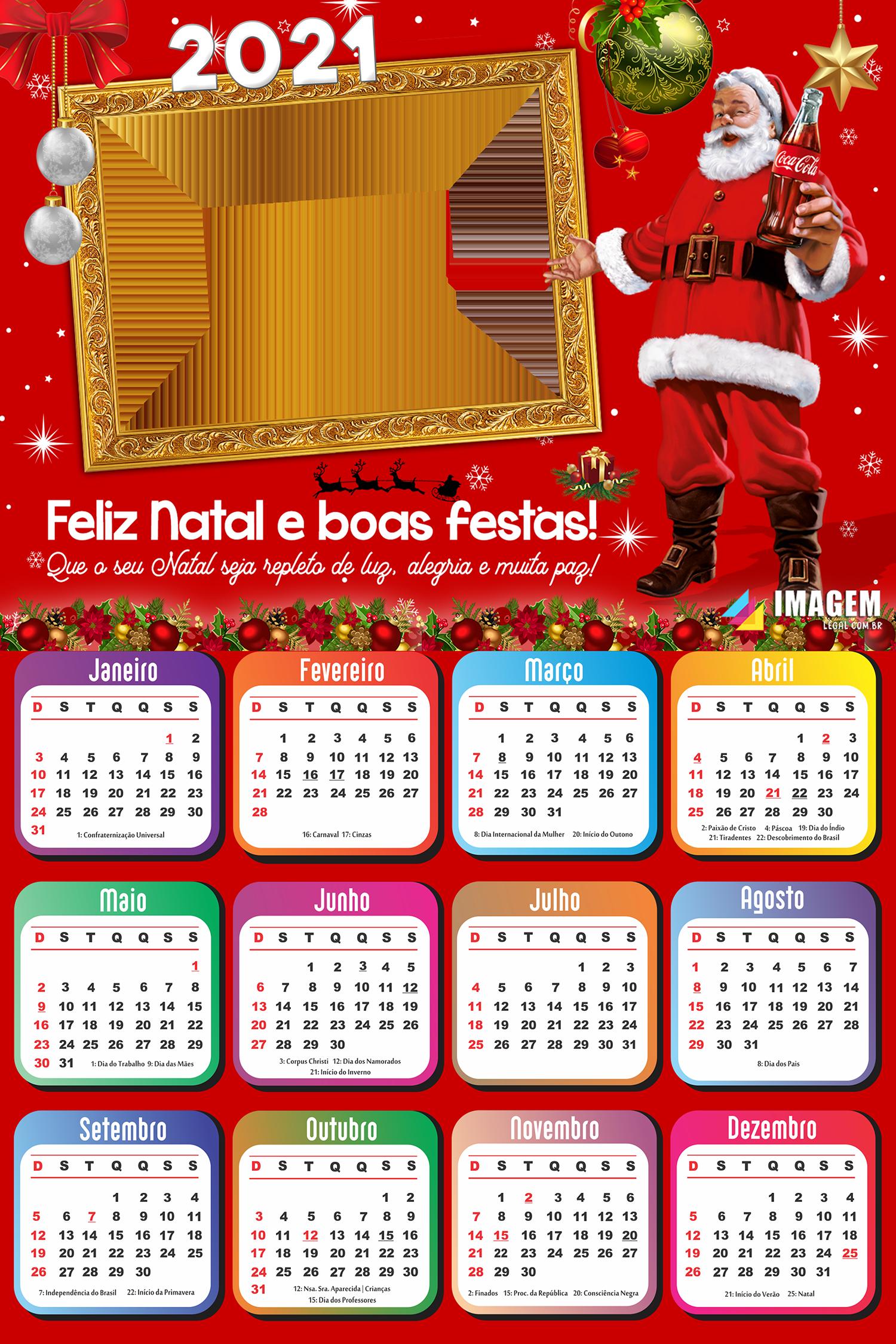 Calendário 2021 Papai Noel Coca Cola