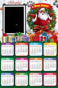 Calendário 2021 Papai Noel Negro Moldura