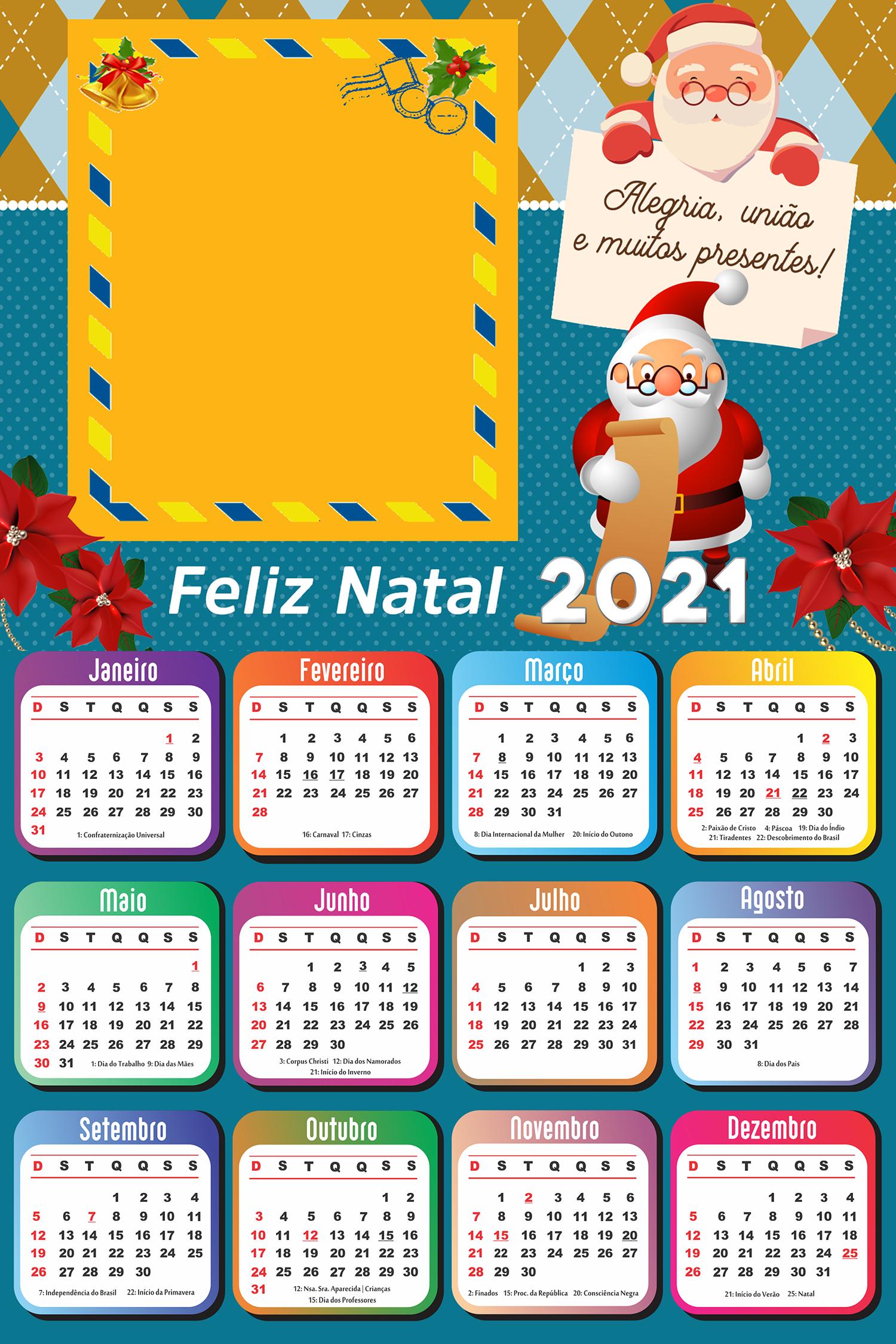 Calendário 2021 Papai Noel dos Correios PNG