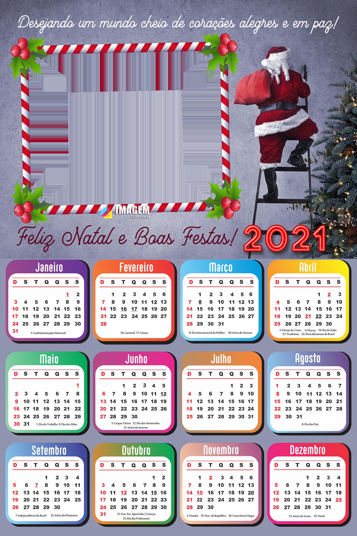 Calendário 2021 Papai Noel na Escada PNG