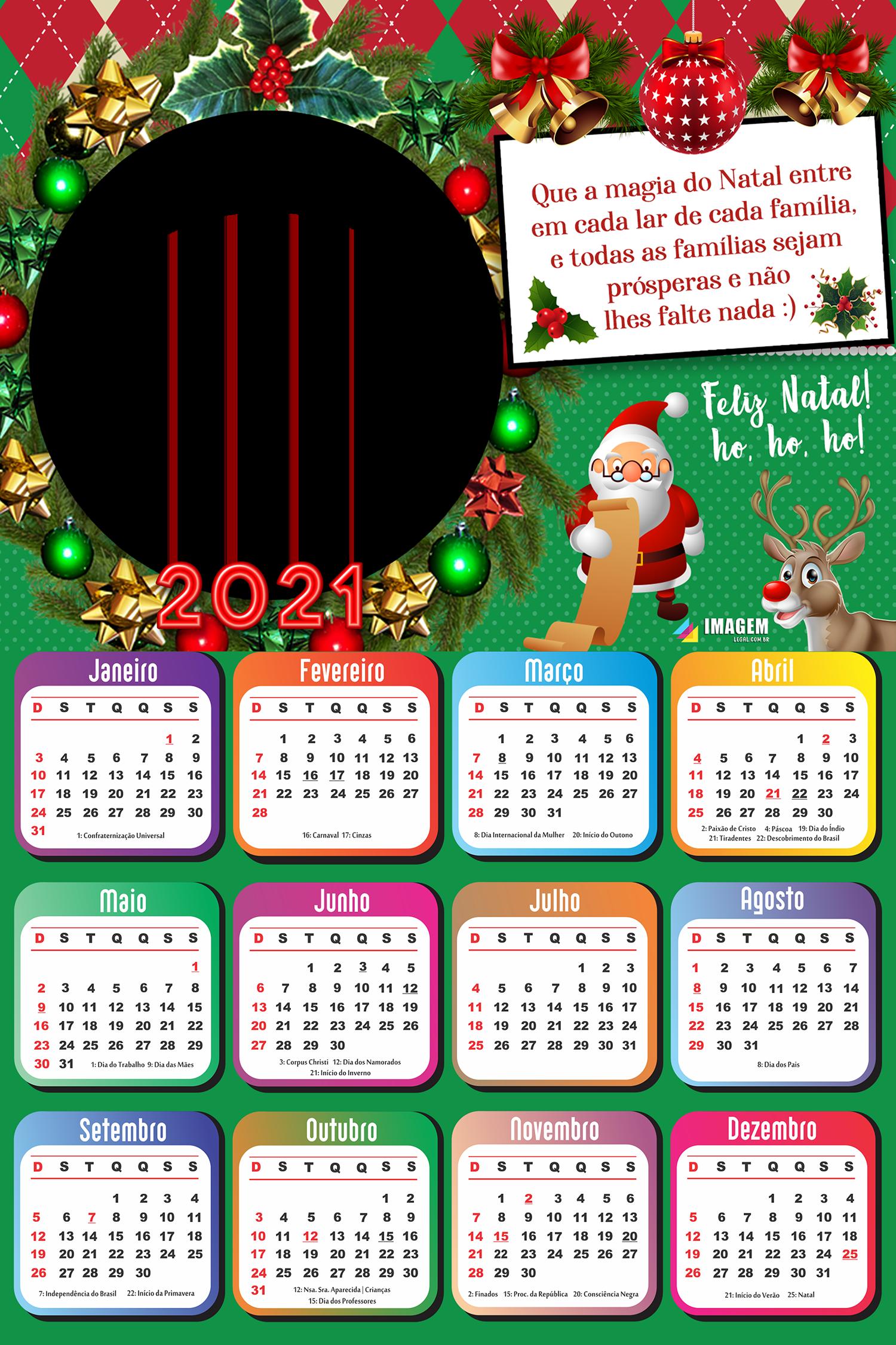 Calendário 2021 Que a magia do Natal entre em cada lar