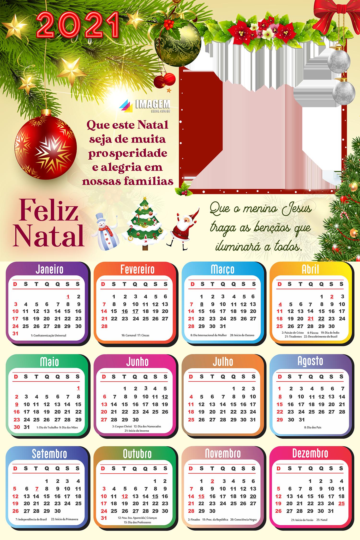 Calendário 2021 Que este Natal seja de muita prosperidade