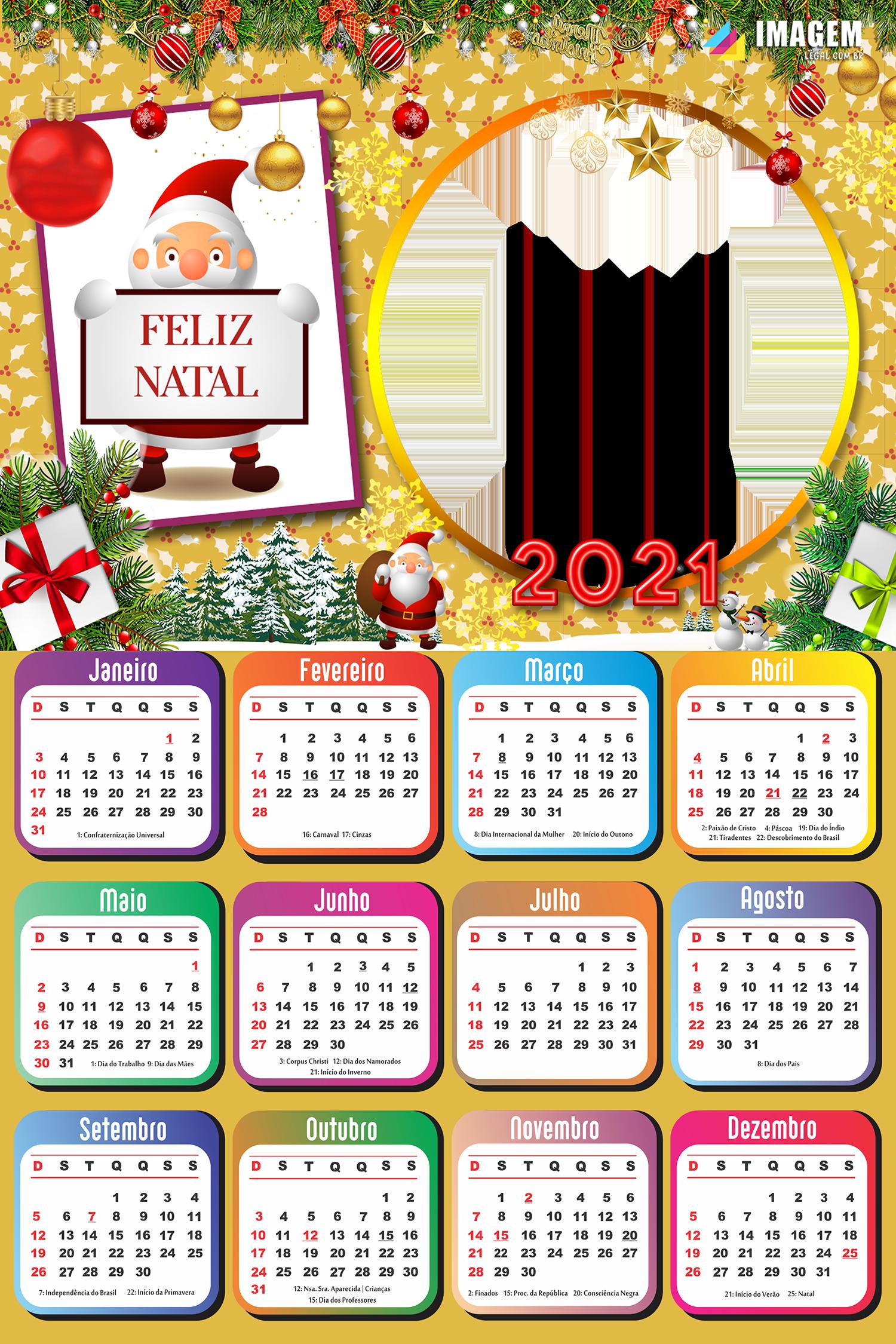 Calendário 2021 Um Feliz Natal Enfeitado