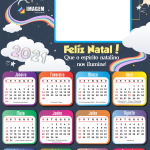 Calendário 2021 Unicórnio Feliz Natal PNG