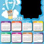 Calendário 2021 PNG do Ursinho Baloeiro