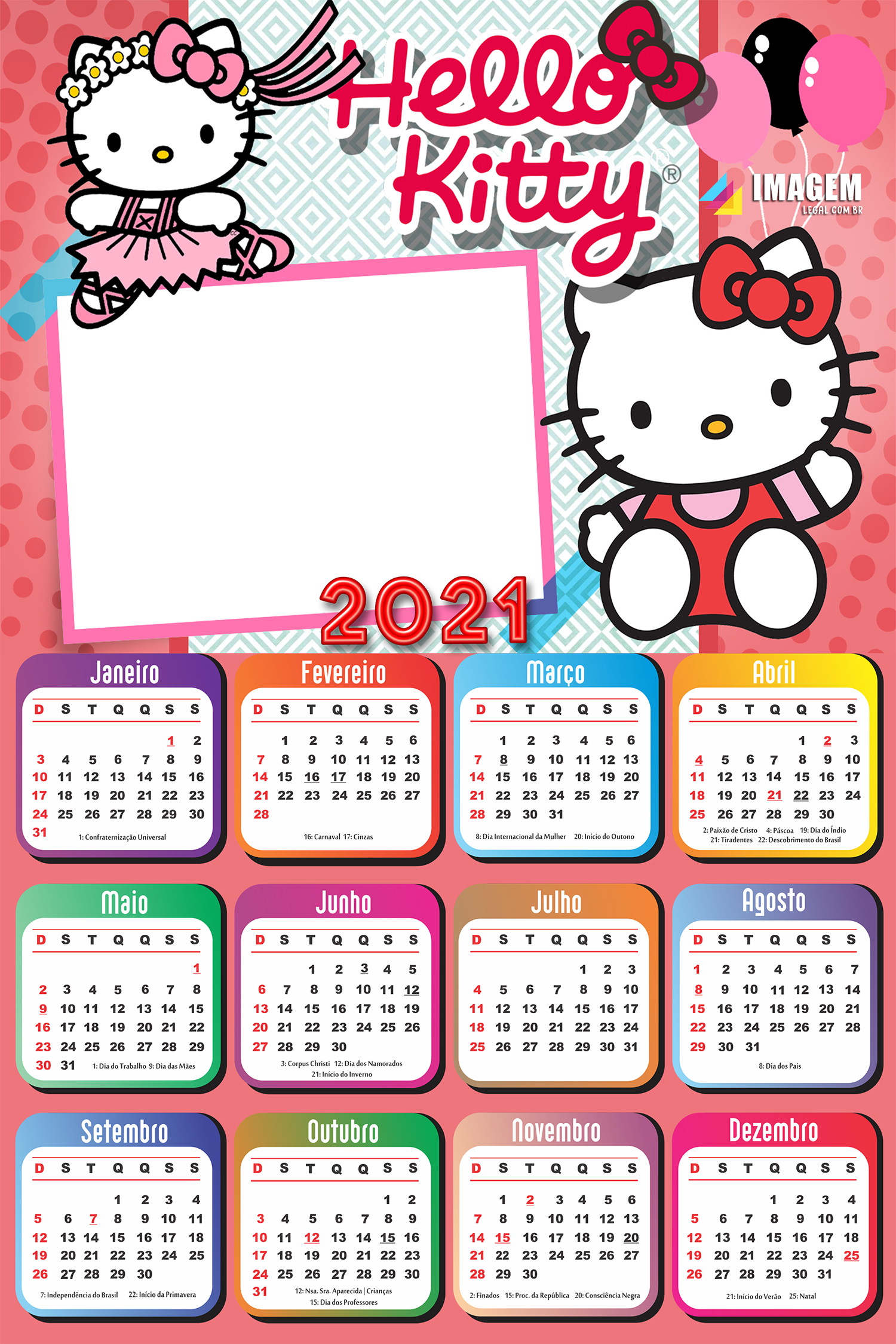 Calendário 2021 para Foto Moldura Hello Kitty