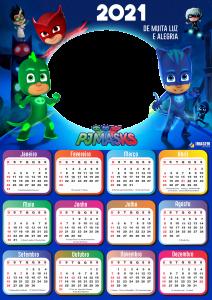 Calendário PNG 2021 PJ Masks