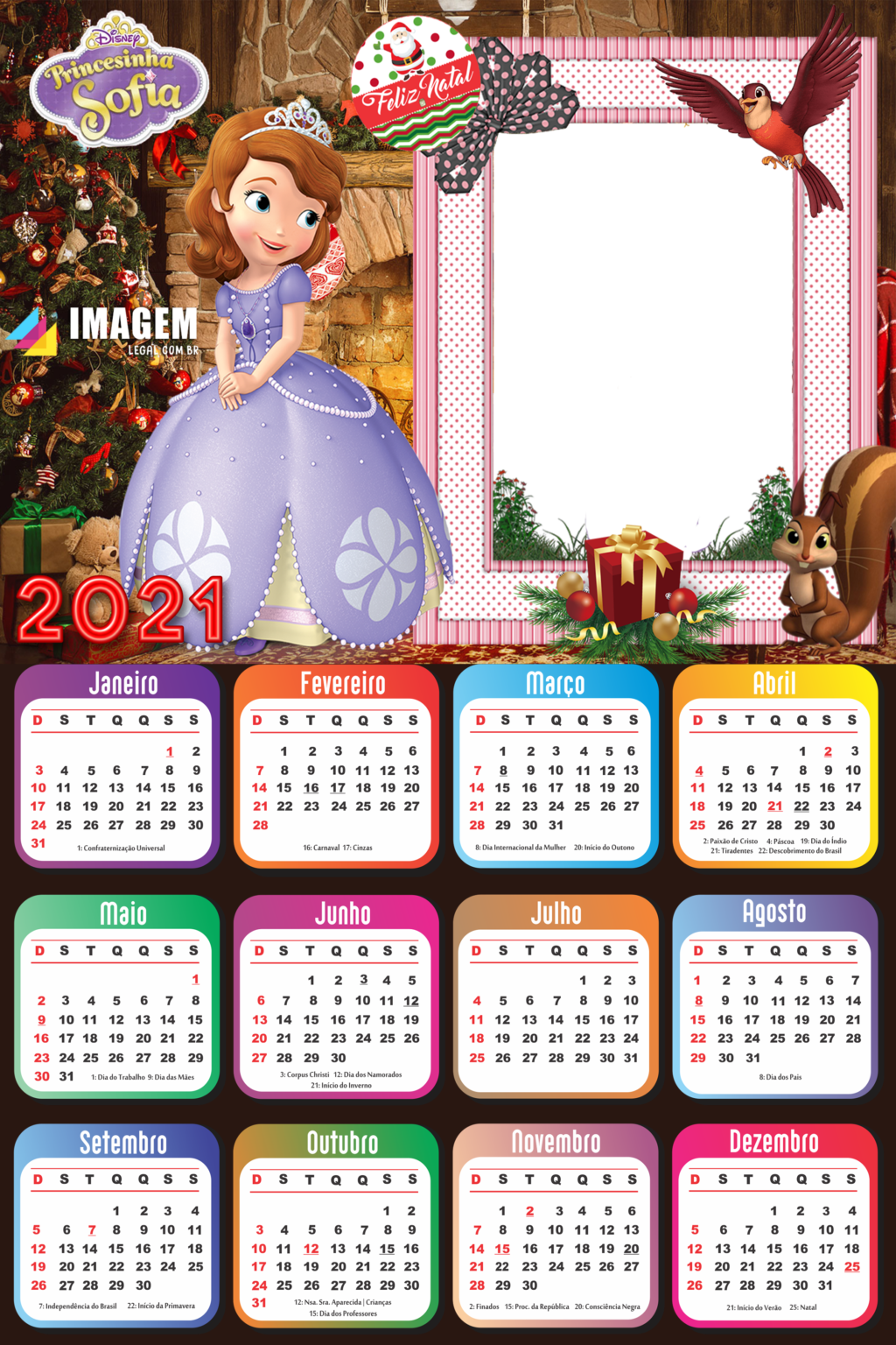 Calendário 2021 Feliz Natal Princesinha Sofia PNG   Imagem ...