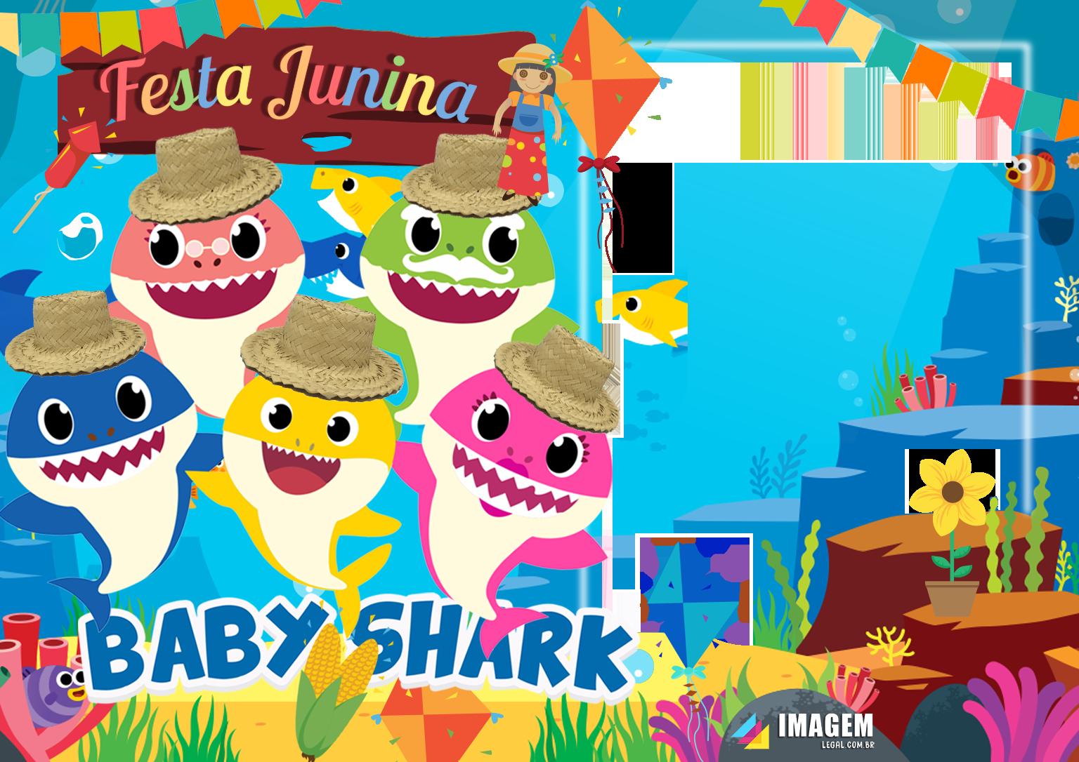 Festa Junina Baby Shark Moldura
