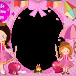 Festa Junina Rosa para Meninas Moldura