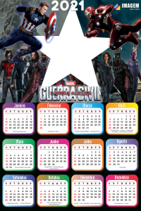 Foto Calendário 2021 Guerra Civil Capitão América