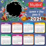 Moldura Calendário 2021 Amor e Paz para Você