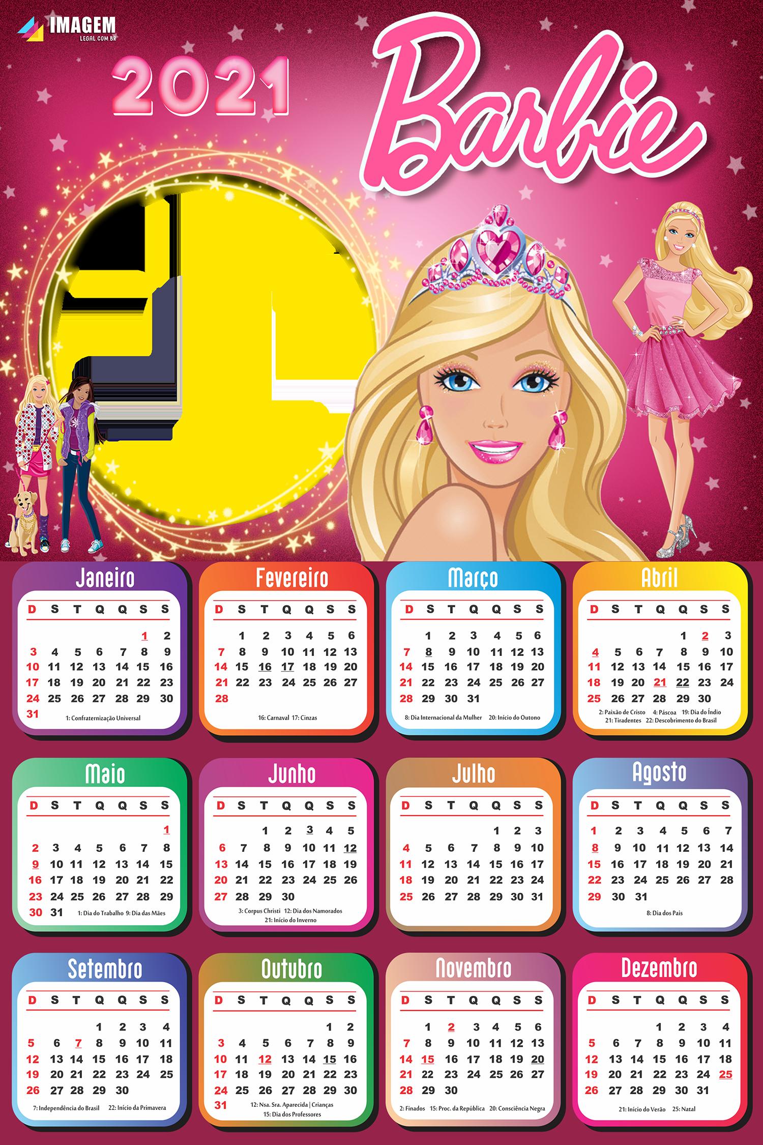 Moldura Calendário 2021 Barbie