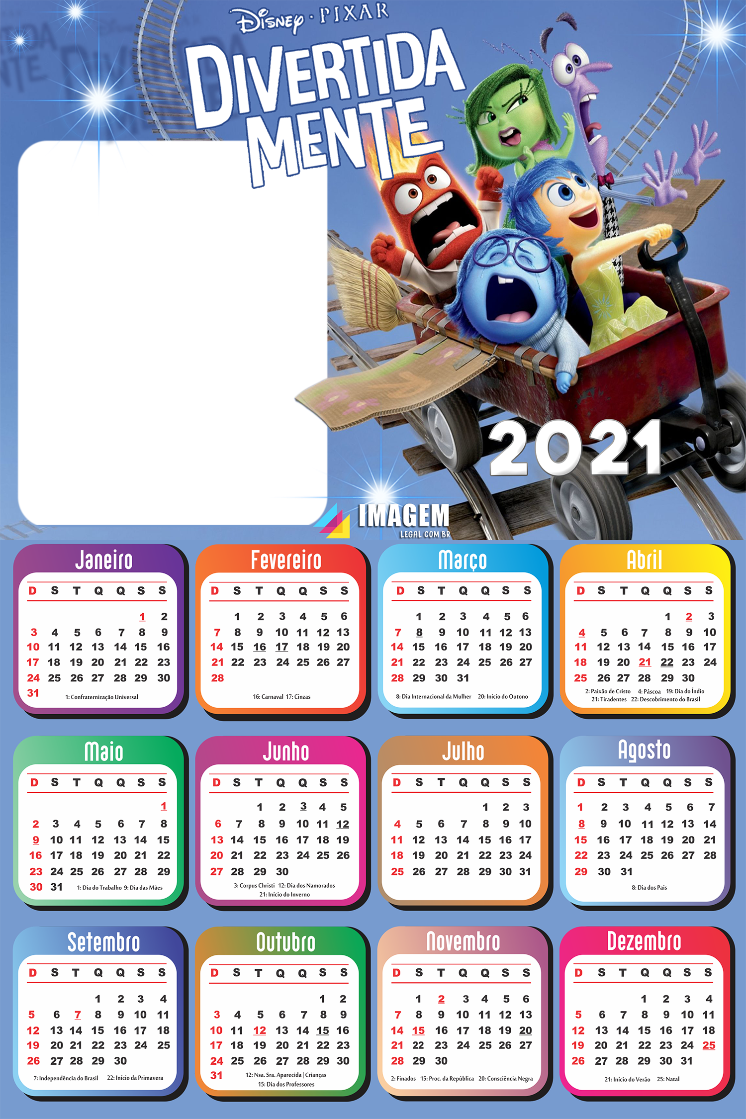 Moldura Calendário 2021 Divertidamente