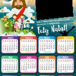Moldura Calendário 2021 Feliz Natal Jesus PNG