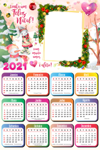 Moldura Calendário 2021 Feliz Natal com Muito Amor