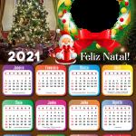 Moldura Calendário 2021 Guirlanda Natalina PNG