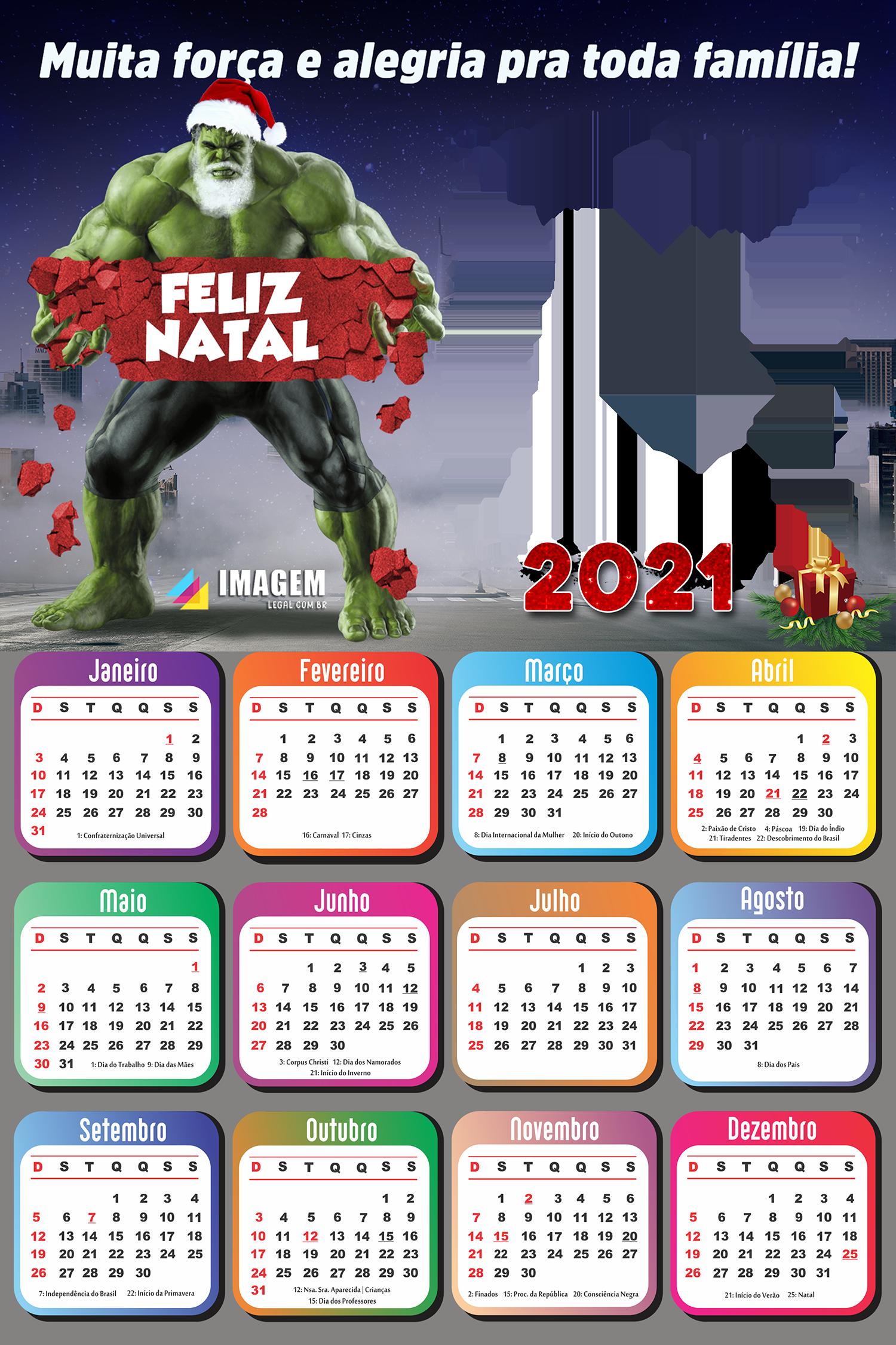 Moldura Calendário 2021 Hulk Papai Noel PNG