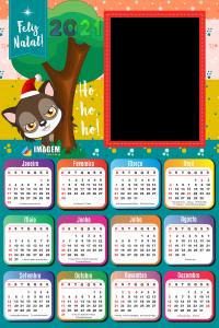 Moldura Calendário 2021 Lobo Mau Feliz Natal PNG
