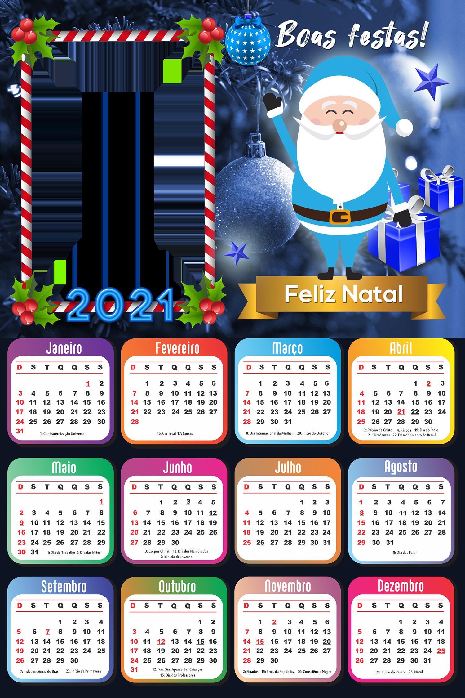 Moldura Calendário 2021 Papai Noel Azul PNG