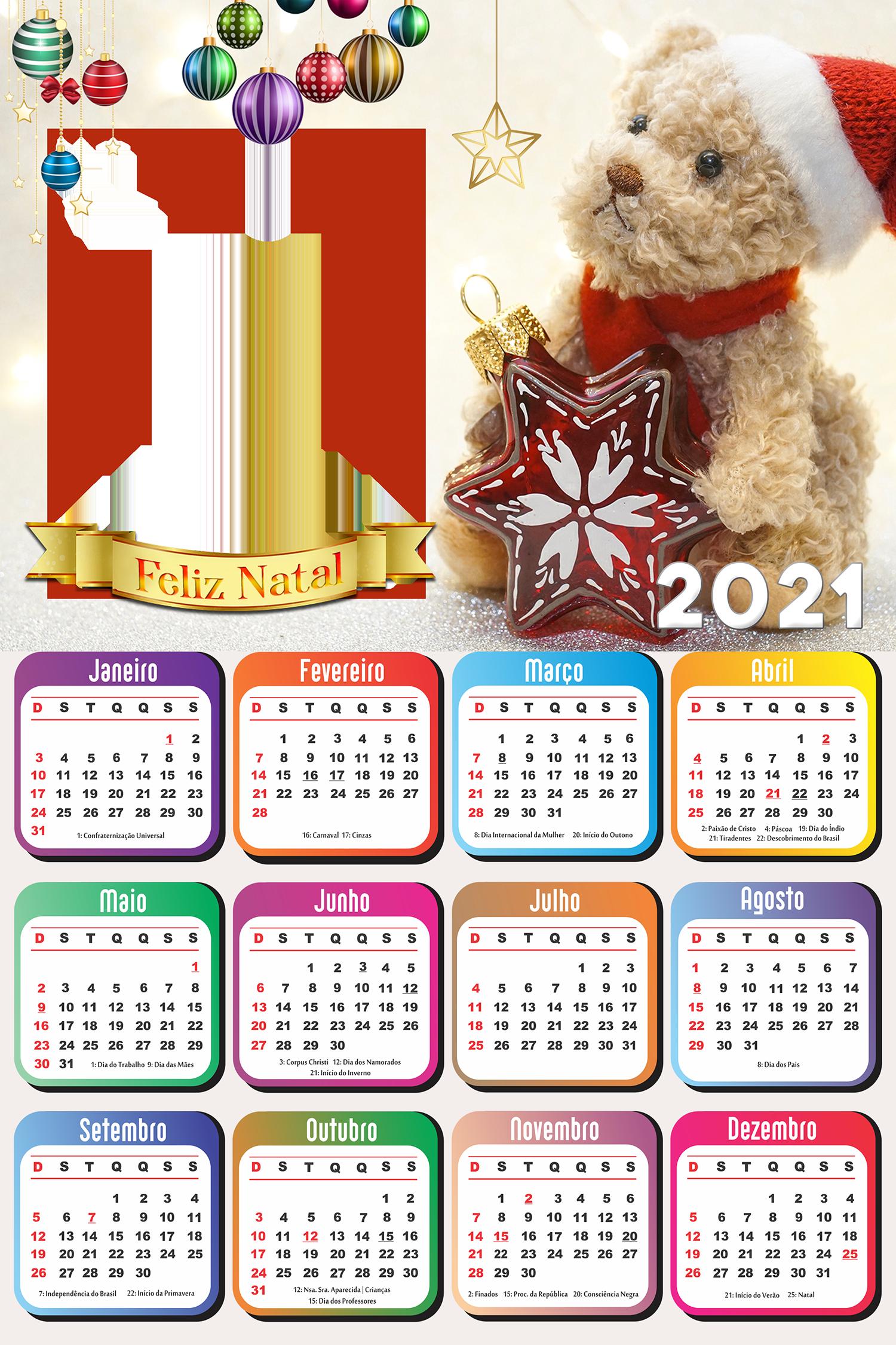 Moldura Calendário 2021 Ursinho Noel PNG