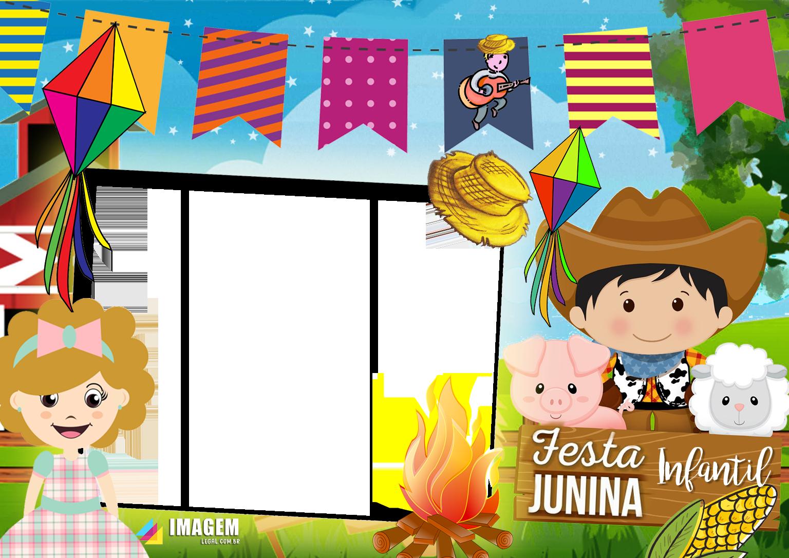Moldura Festa Junina Infantil PNG