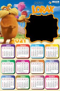 Moldura Fotos com Calendário 2021 Lorax