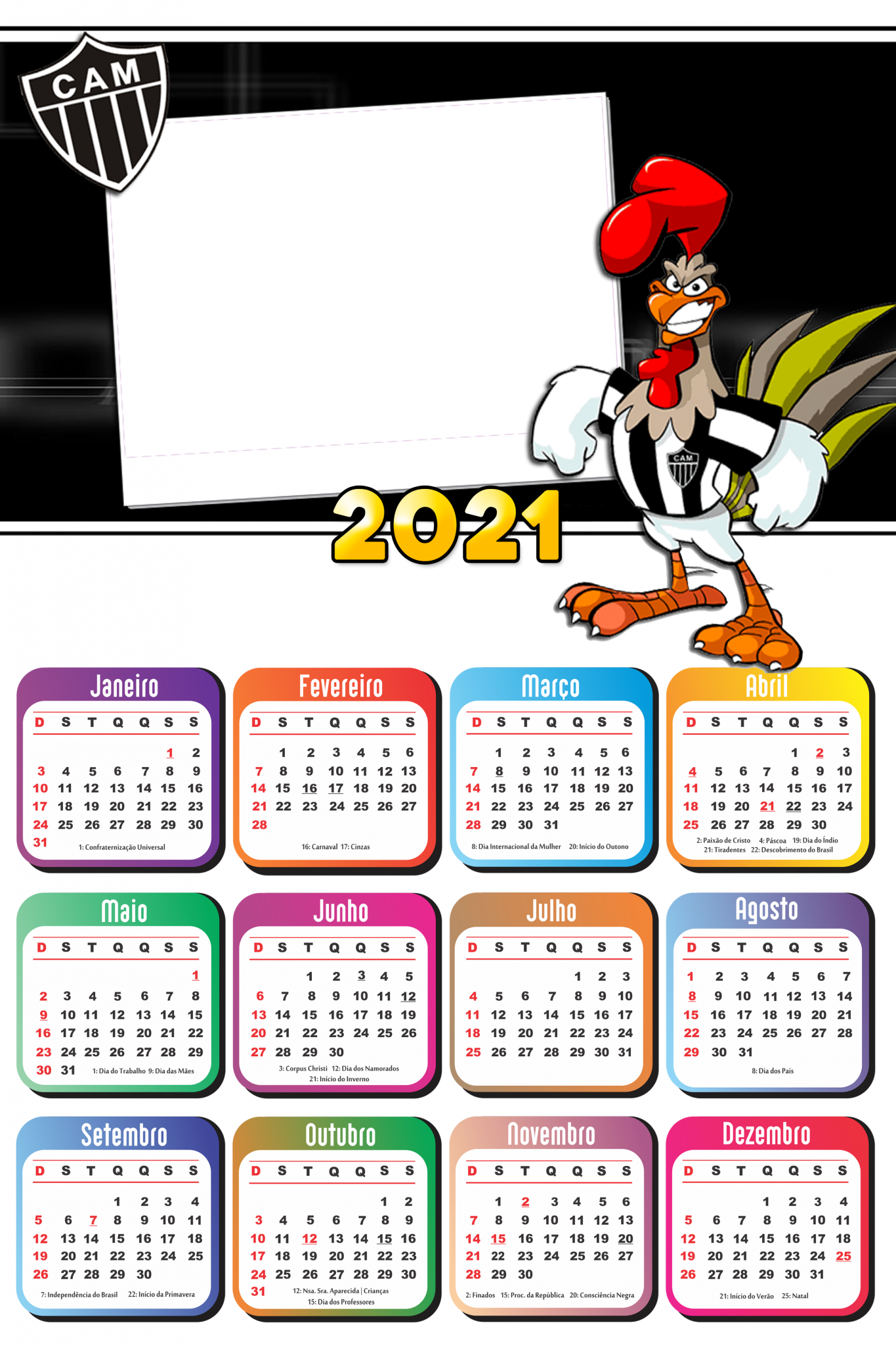 Calend U00e1rio 2021 Galo Atl U00e9tico Mineiro PNG Imagem Legal