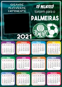 Calendário 2021 Palmeiras Moldura PNG
