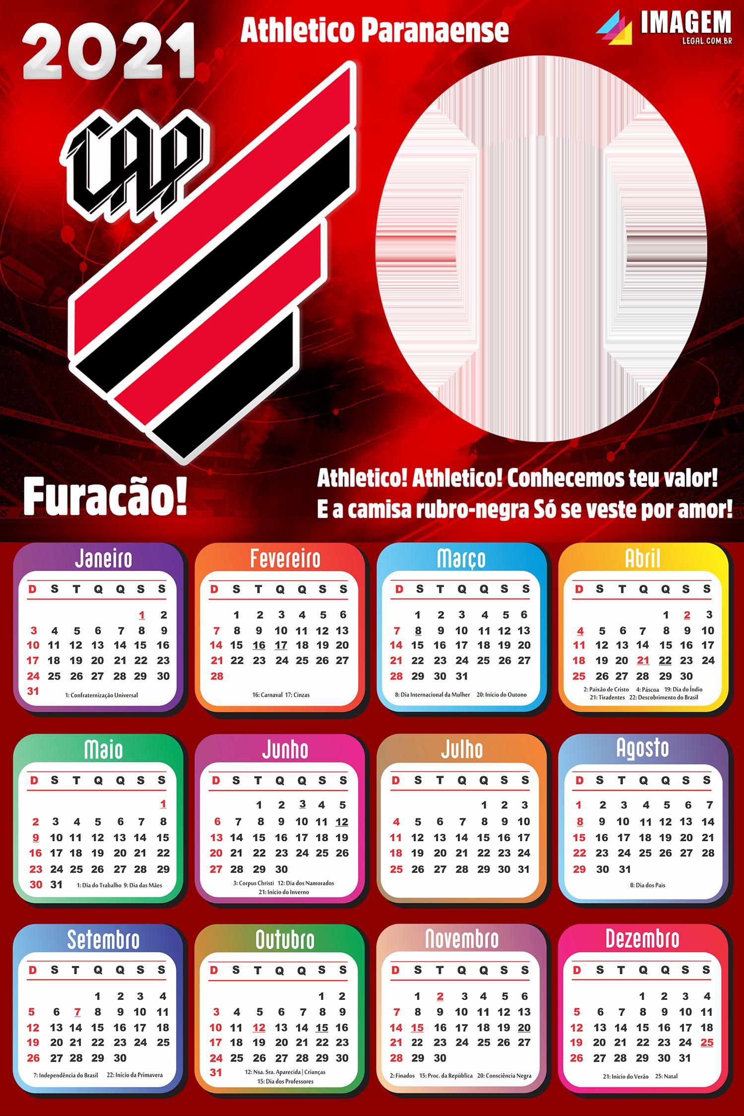 Calendário 2021 Vasco da Gama Moldura PNG