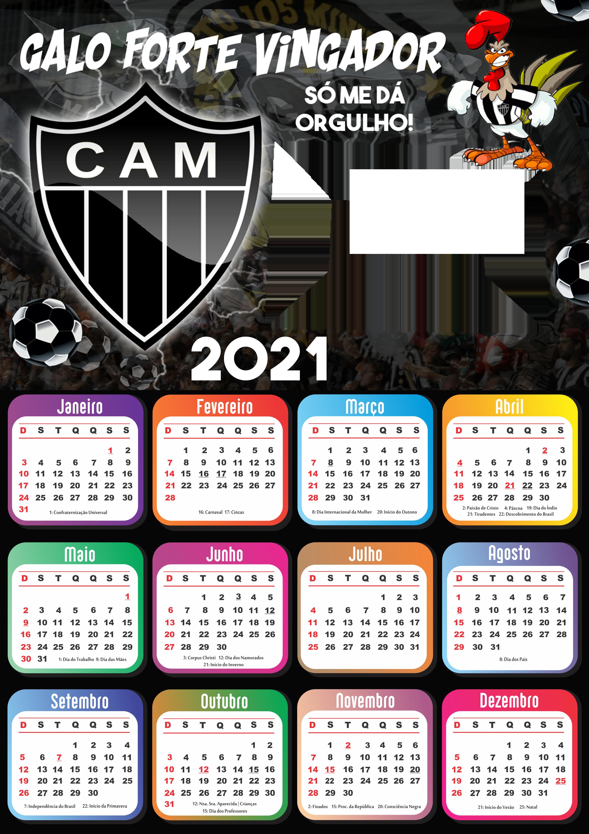 Moldura Calendário 2021 Atlético Mineiro