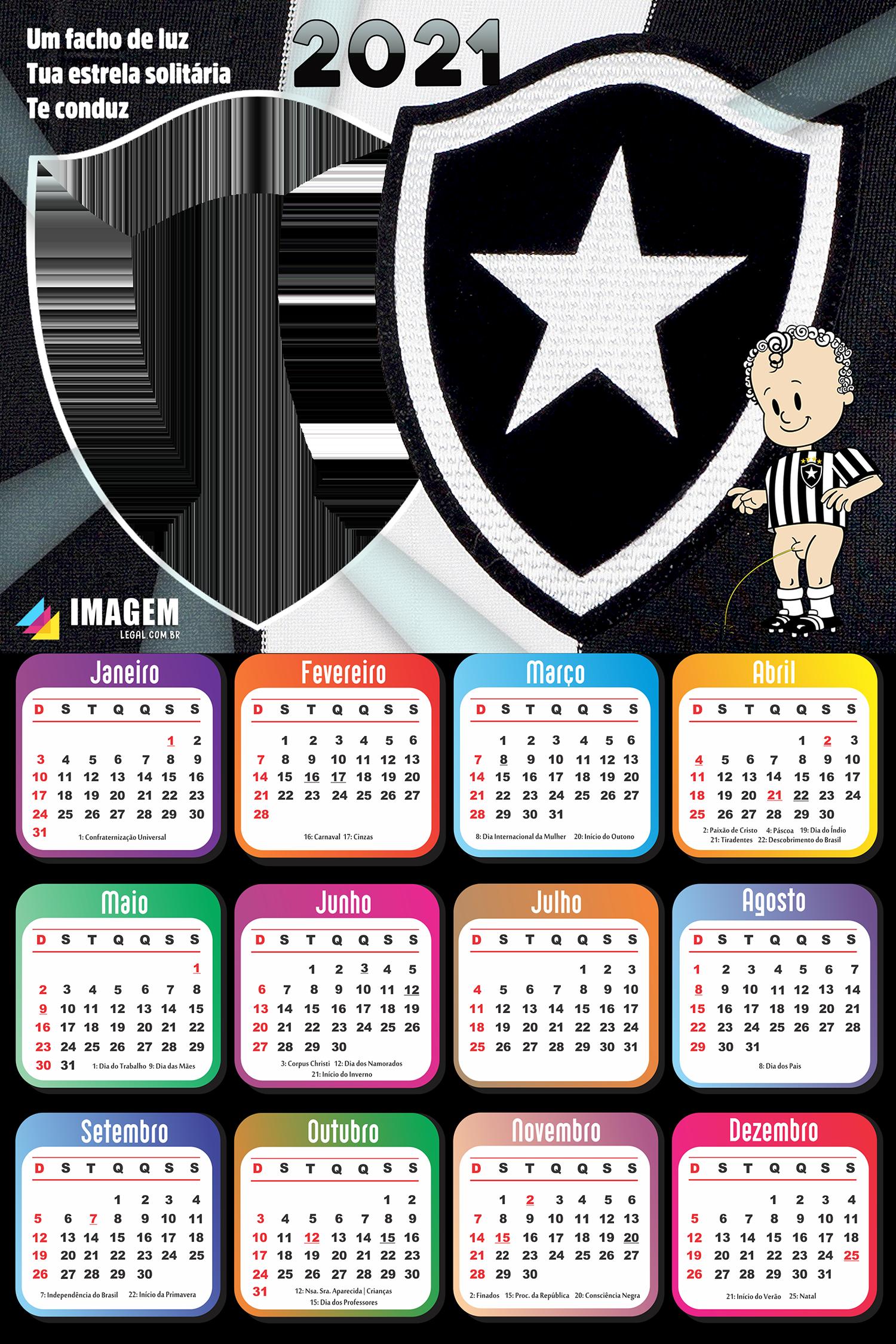 Moldura Calendário 2021 Botafogo