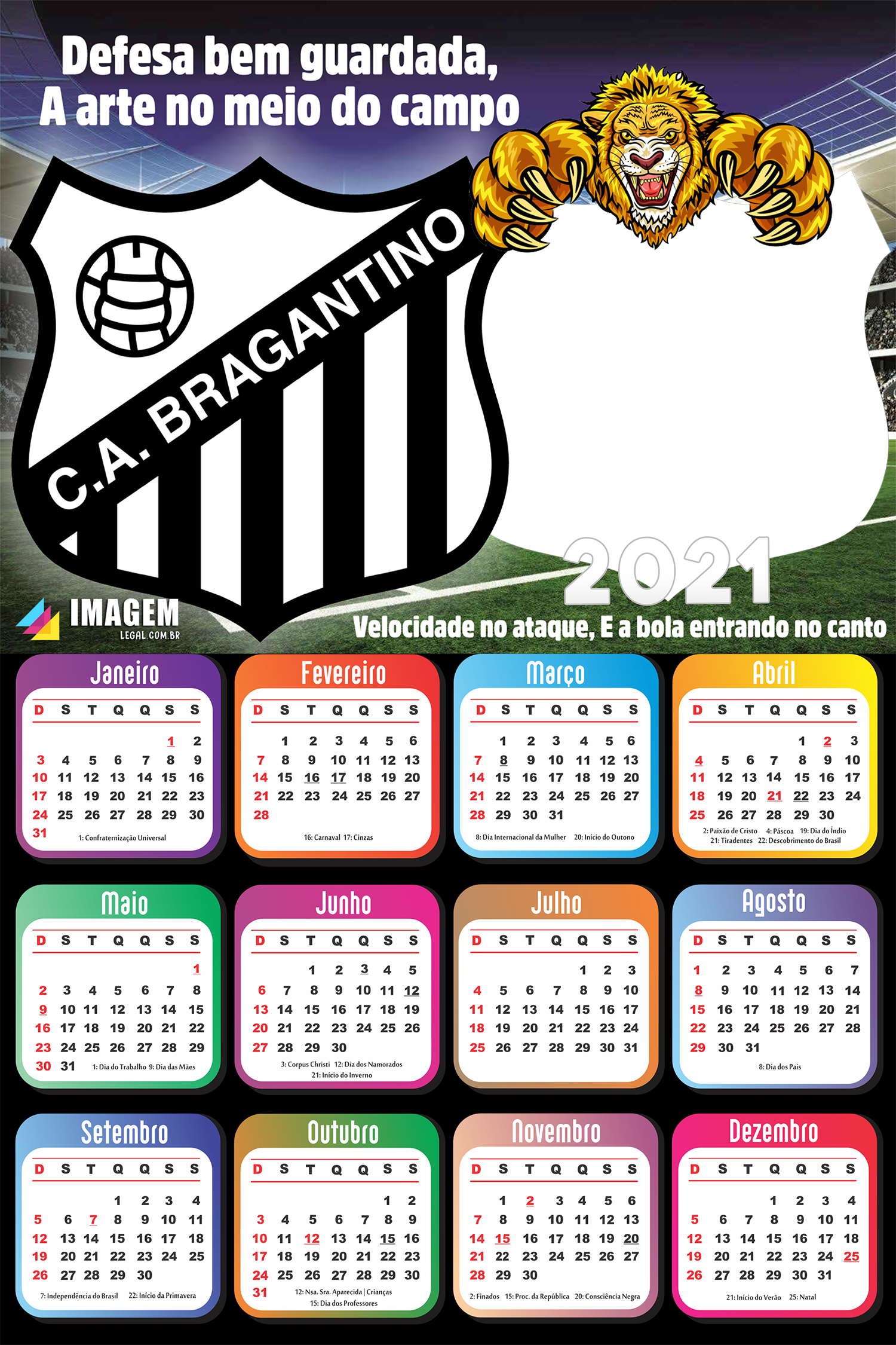 Moldura Calendário 2021 Bragantino