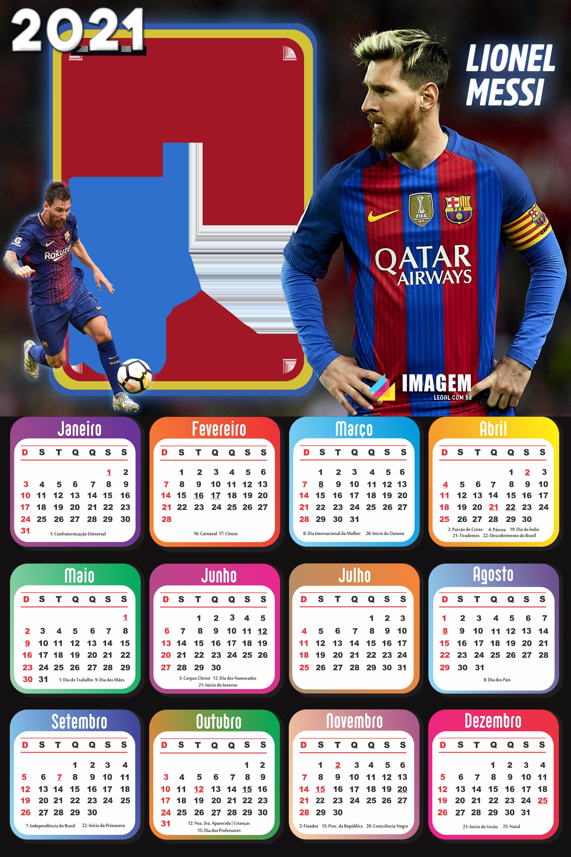 Moldura Calendário 2021 Lionel-Messi   Imagem Legal