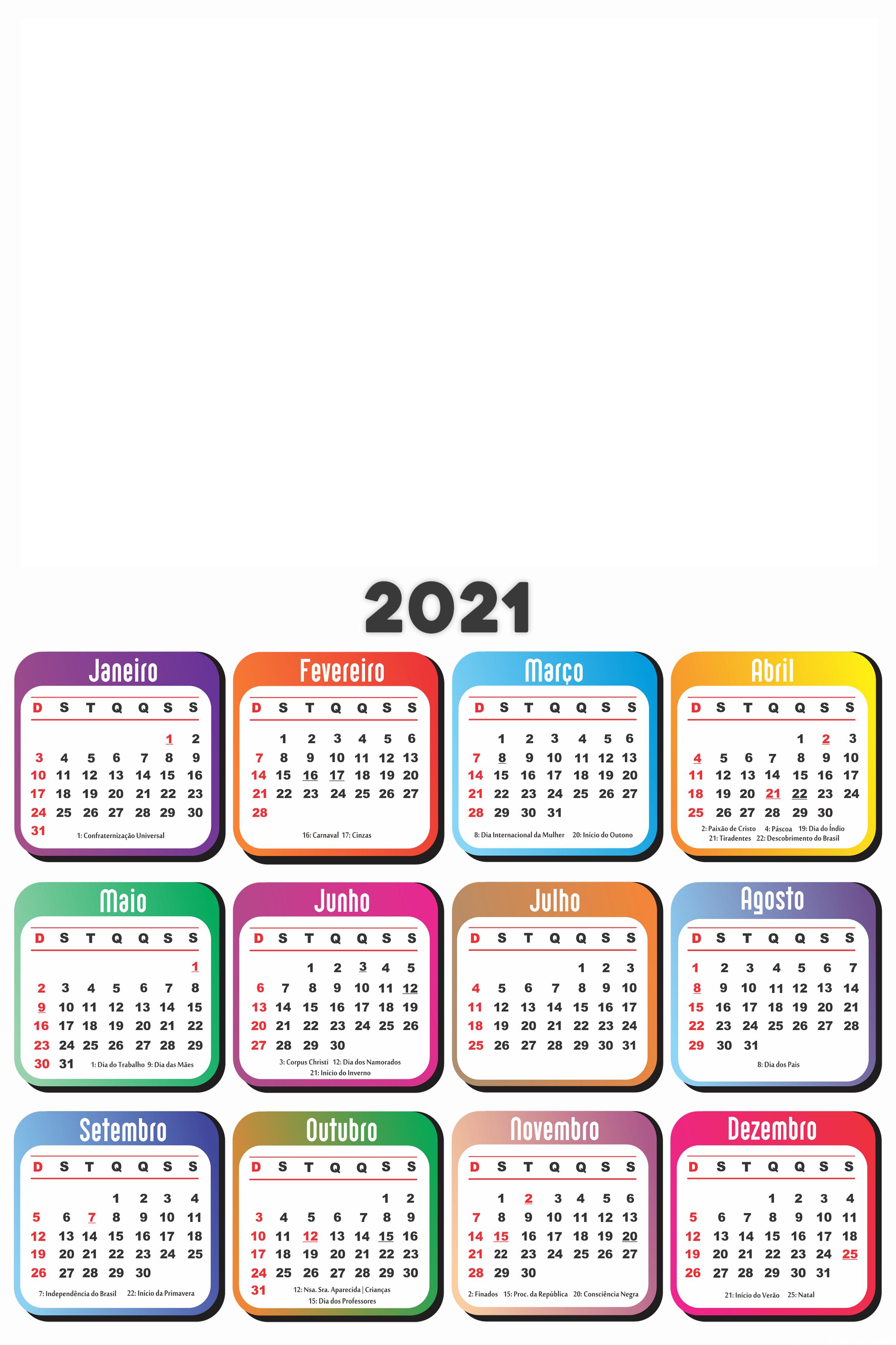 Calendário 2021 em Branco Base Colorida   Imagem Legal
