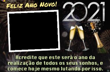 Moldura Feliz Ano Novo 2021 para Montagem de Fotos com Mensagem
