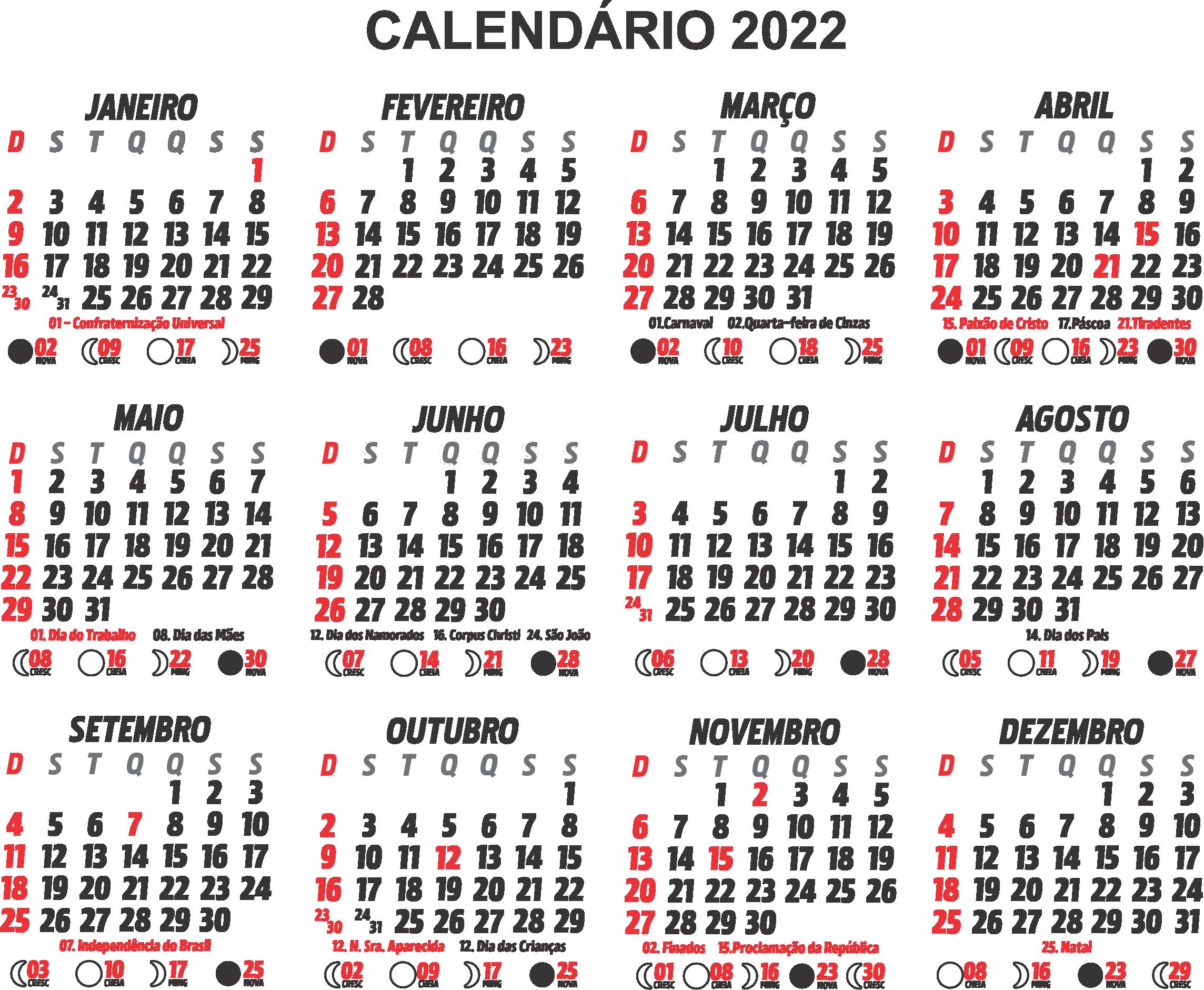 Base Calendário 2022 Preto e Branco
