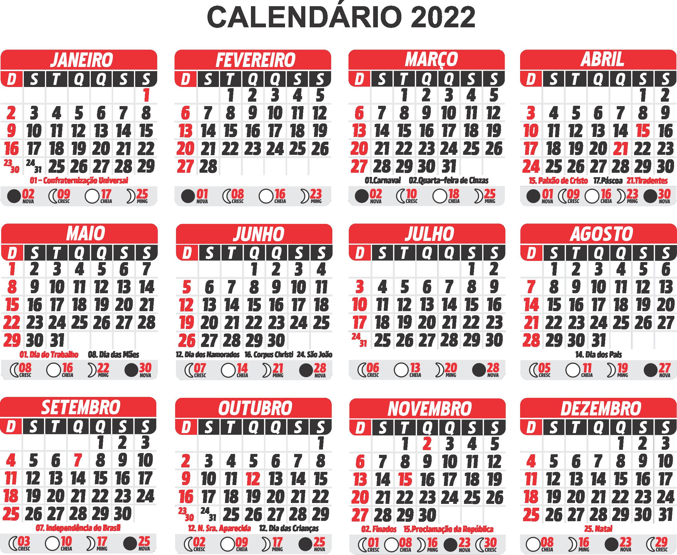 Base Calendário 2022 para Imprimir