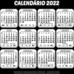 Calendário 2022 para Colorir e Imprimir