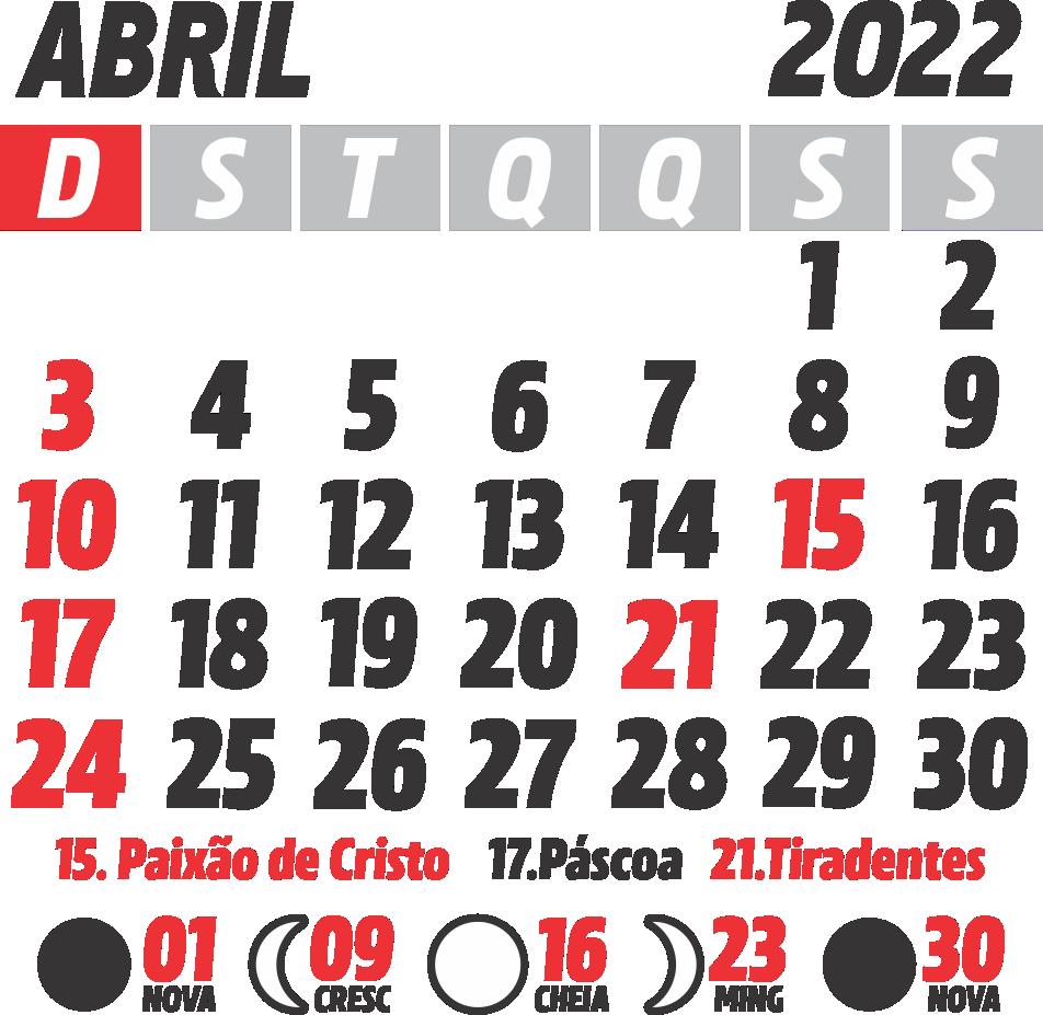 Calendário 2022 Abril com Feriados e Fases da Lua