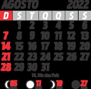 Calendário 2022 Agosto com Feriados e Fases da Lua